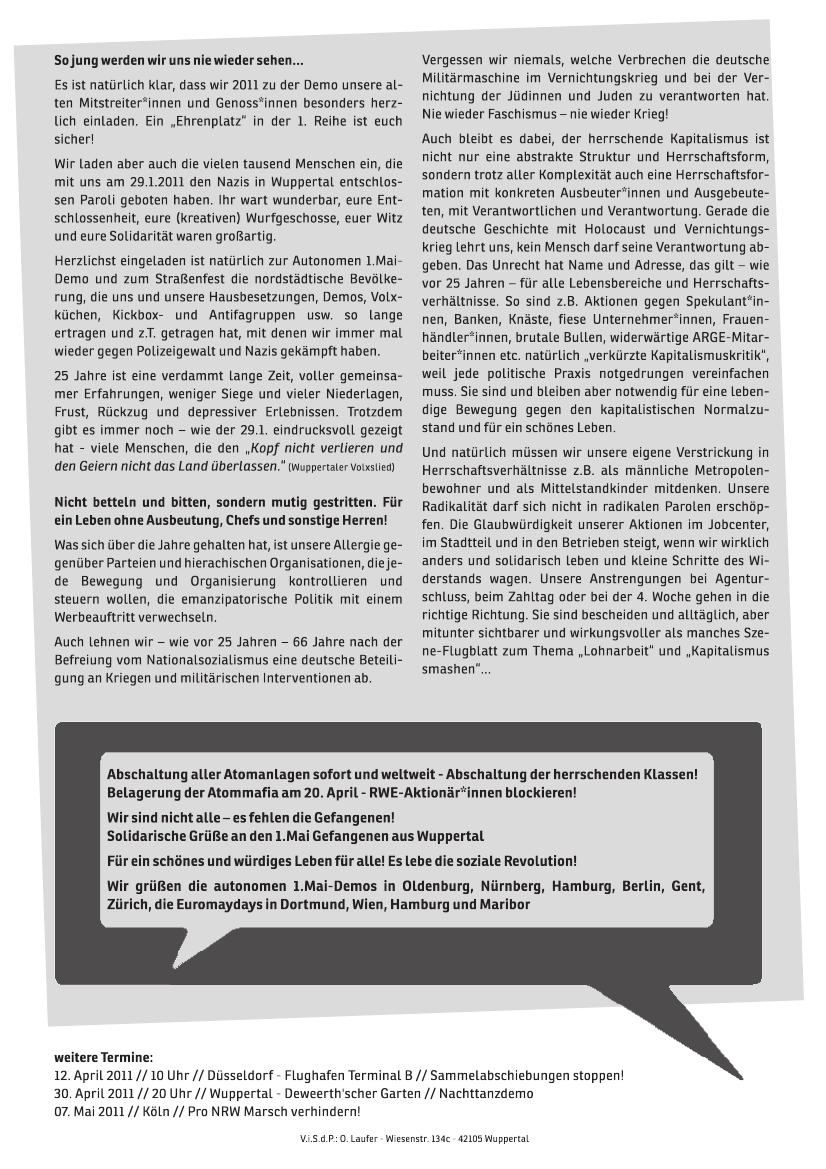 Aufruf - 25 Jahre autonome 1.Mai Demo in Wuppertal