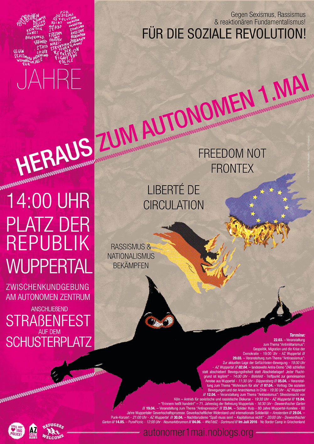 30 Jahre autonomer 1. Mai in Wuppertal // Plakat