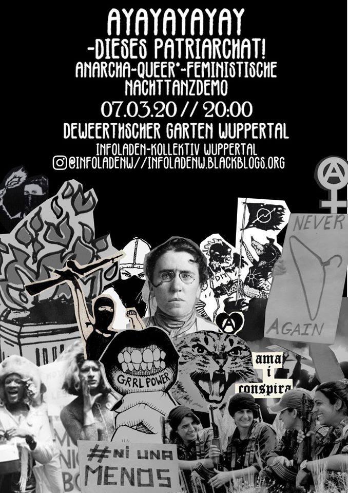 Ayayay - anarcha-queer*feministische Nachttanzdemo zum Frauen*kampftag am 7. März 2020 in Wuppertal